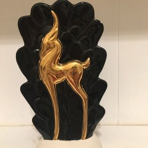 Vintage antelope Art Deco vase